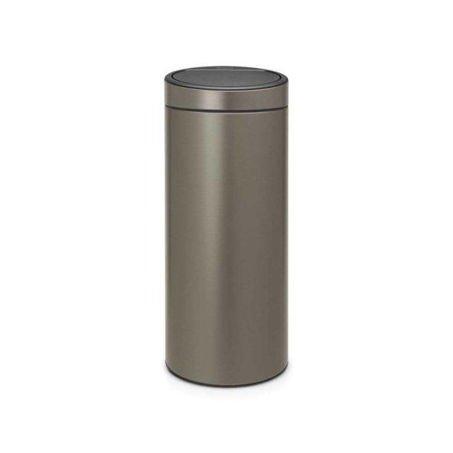 brabantia poubelle touch bin 30 l platine pas cher. Black Bedroom Furniture Sets. Home Design Ideas