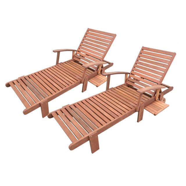 HABITAT ET JARDIN Bain de soleil pliant en bois exotique Tokyo - Maple - Marron clair - Lot de 2