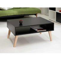 Symbiosis - Table basse en bois avec niche et piètement incliné Ellinor