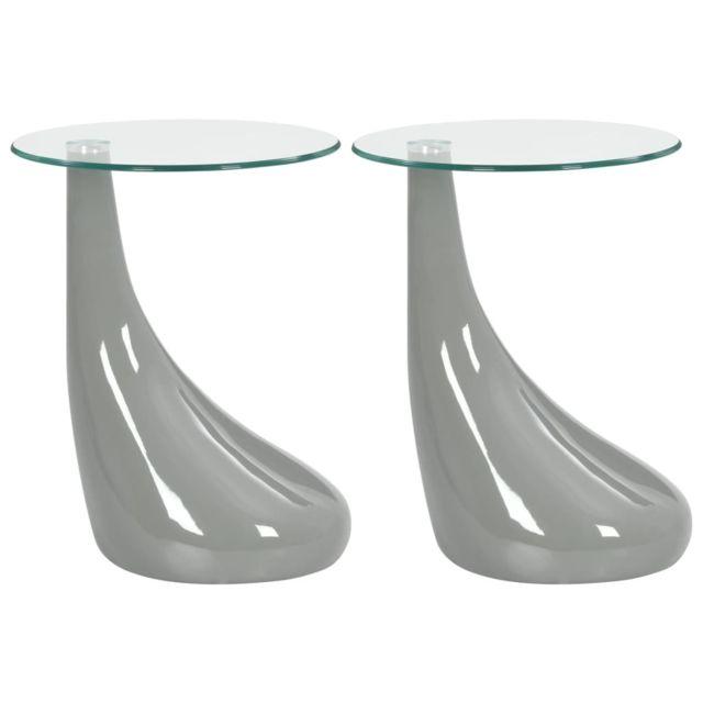 Vidaxl 2x Tables Basses avec Dessus de Table en Verre Rond Table d'Appoint