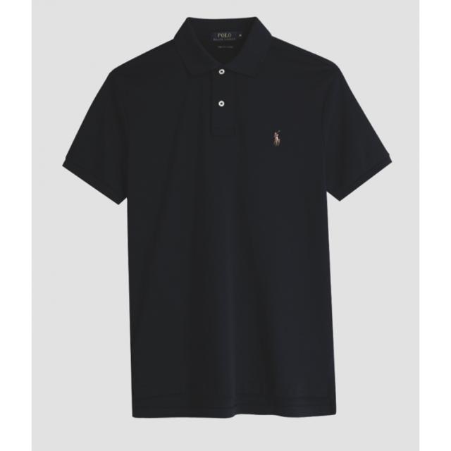 e48d71ad7d5e9 Ralph Lauren - Polo Custom-Fit noir coton pima - pas cher Achat   Vente  Polo homme - RueDuCommerce