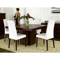 Tema Home - TemaHome table repas Dusk 130 x 130 cm en bois teintée chocolat