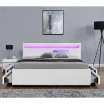 Lit Enfield Blanc - tête de lit LED et rangements 4 tiroirs