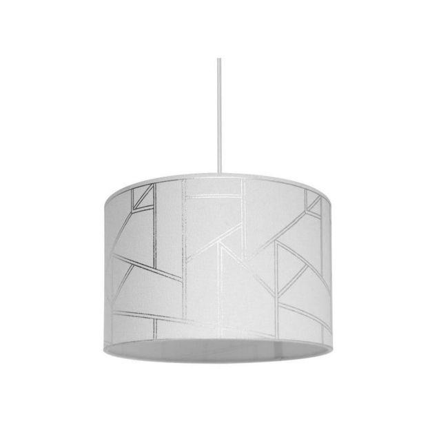 Lustre suspension Harold motif irisé diametre 30 cm hauteur 20 cm E27 40W blanc