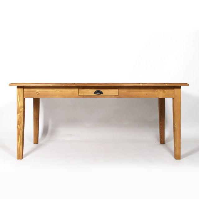 Made In Meubles Table rectangulaire avec son tiroir en pin massif   réf. N62PM-Bois