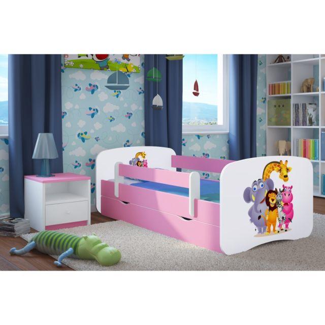 carellia lit enfant zoo 70 cm x 140 cm avec barriere. Black Bedroom Furniture Sets. Home Design Ideas