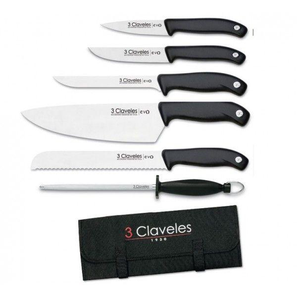 3CLAVELES Valise de 5 couteaux Evo pour cuisiniers + fusil 3 Claveles