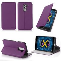 Xeptio - Etui coque luxe Huawei Honor 6X 4G violet Ultra Slim avec stand - Housse pochette