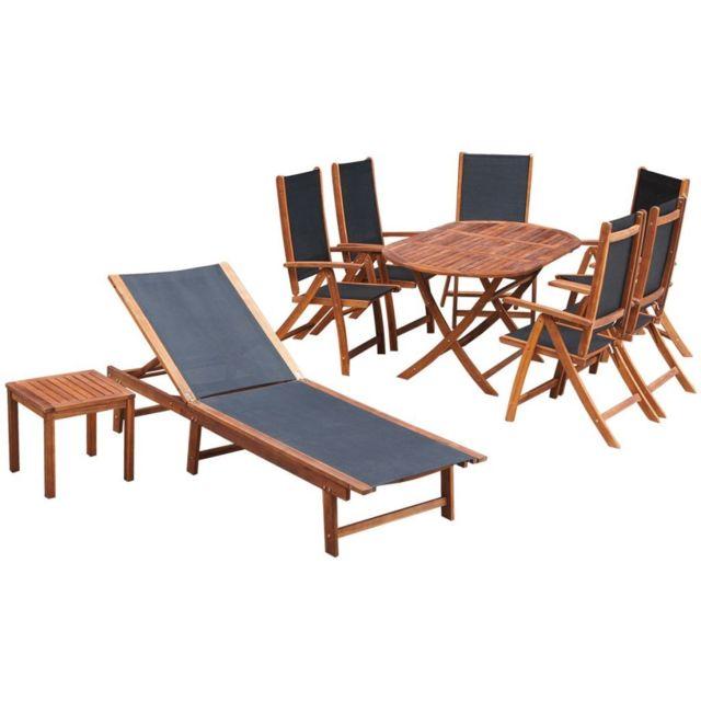 Sans Marque Ensemble de mobilier de jardin 9 pièces Bois d'acacia Textilène