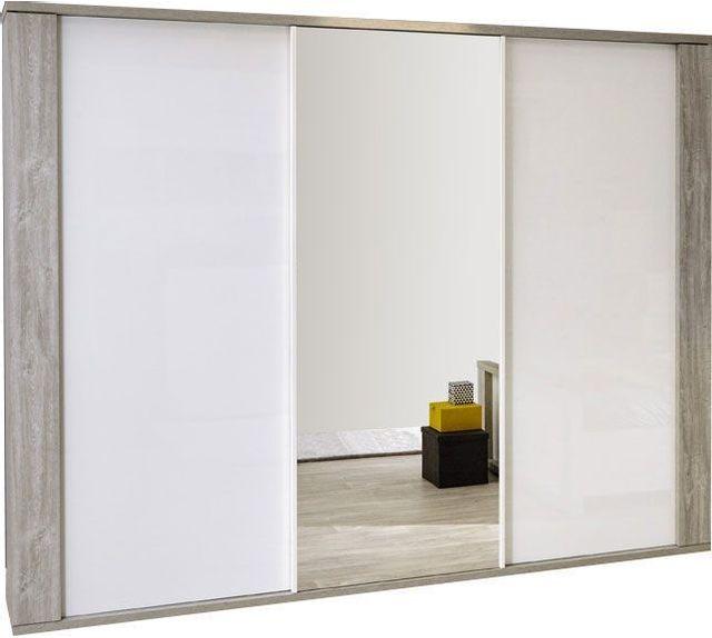 Comforium Armoire contemporaine éclairée avec 3 portes coulissantes 260 cm coloris valonia et blanc