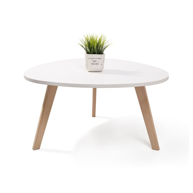 Homekraft Alta table basse scandinave aspect galet pieds en bois Blanc