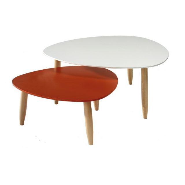 Tousmesmeubles Tables gigognes Blanc/Rouge - Ovni - L 80 x l 80 x H 35