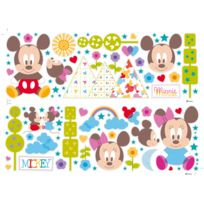 Disney - Sticker mural en vinyle bébés Mickey Minnie - 2 planches 25x70cm Mickey
