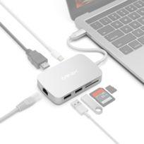 Wewoo - Pour lecteur de carte avec argent Usb Type-C, 1000MB, Besoin d'un pilote Neo C 7 en 1 Usb-c / Type-C à 2 x Usb 3.0 + Hdmi + Gigabit Ethernet Port + Sd Hc + Adaptateur Micro Sd l'installation