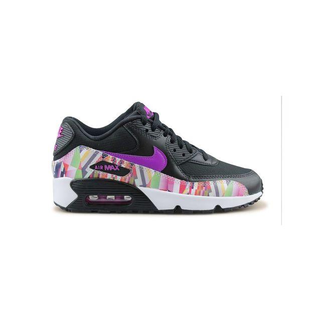 Nike Air Max 90 Print Mesh Junior Noir pas cher Achat