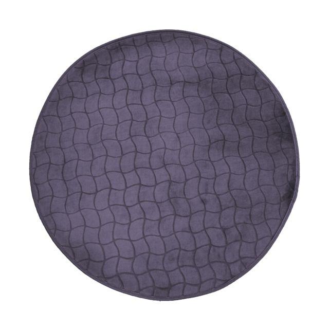 Linge Des Domes Cdaffaires Tapis rond 0, 90 cm velours uni tomette Anthracite