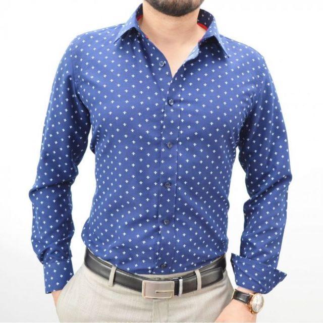 Prestige Man Chemise Bleu Imprime Fleurs De Lys Pas Cher