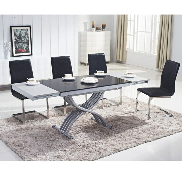 Ego Design Table Basse Relevable Reality Verre Noir Pas Cher