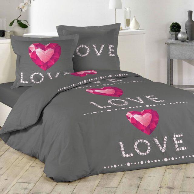 douceur d 39 interieur parure housse de couette 240 x 220 cm love ruby gris 240cm x 220cm pas. Black Bedroom Furniture Sets. Home Design Ideas