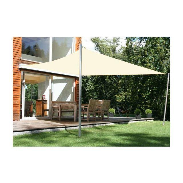 HOMCOM - Voile d'ombrage rectangulaire 4 x 6 m toile solaire taud de soleil crème 59CW