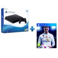 SONY - Pack PS4 500Go Châssis E Noire + Qui es-tu ? + FIFA 18 jeu PS4