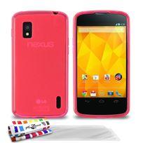 "Muzzano - Coque Souple Ultra-Slim ""Le Glossy Hybrid"" Rose pour Google Nexus 4 + 3 Films de protection ?cran"