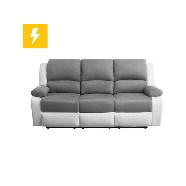 USINESTREET Canapé de Relaxation électrique 3 places Microfibre / Simili DETENTE - Couleur - Blanc / Gris