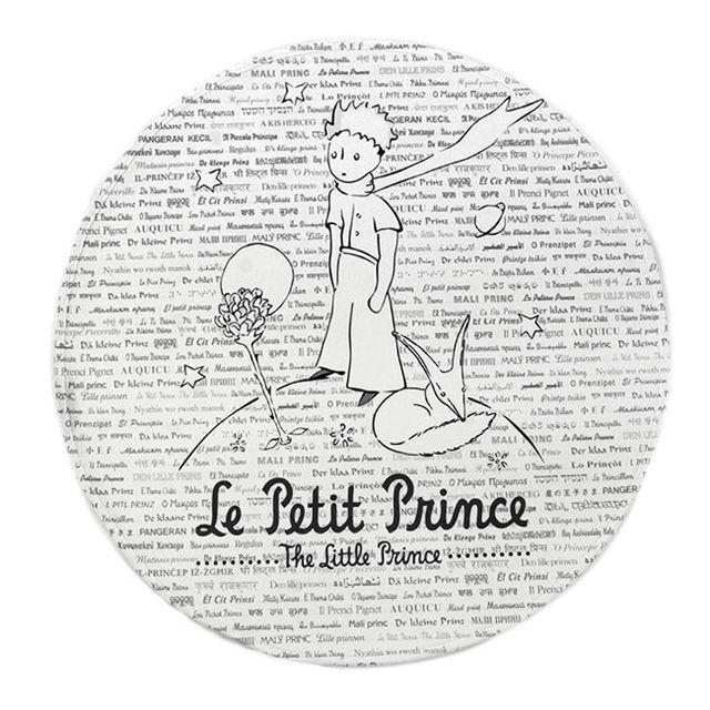 Mon Beau Tapis Tapis rond Le Petit Prince Wording Gris Diam. 70cm