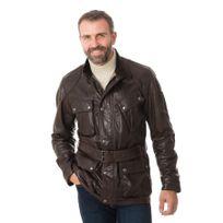 Belstaff - Veste Panther 4 pocket belted jacket man black/brown