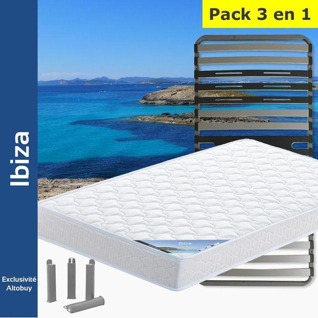 altobuy ibiza pack matelas altozone 90x190 pieds blanc 90cm x 190cm pas cher achat. Black Bedroom Furniture Sets. Home Design Ideas