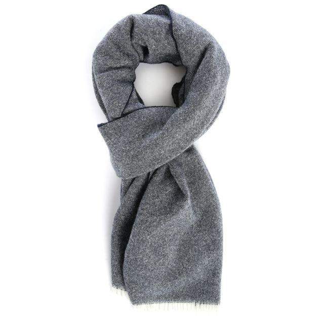 M.STUDIO - Echarpe Angel mélange laine cachemire navy chiné pour homme 95b17c4d09e