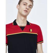 Polo homme, col V bicolore, manches courtes - Coloris noir