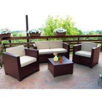 Marque Generique - Salon de jardin Sophie Ii en résine moulée: 2 fauteuils, un canapé 2 places, une table basse - chocolat