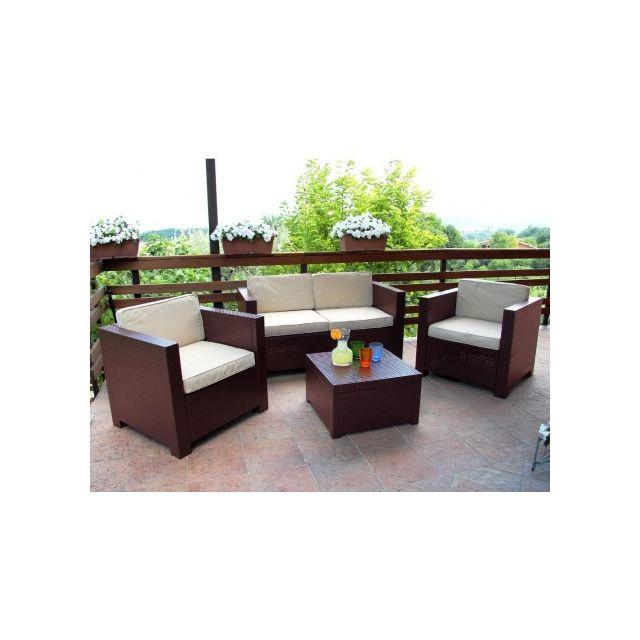 Marque generique salon de jardin sophie ii en r sine moul e 2 fauteuils un canap 2 places - Salon de jardin marque jardin ...