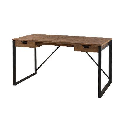 Bureau 2 tiroirs bois et métal Appoline - teck foncé