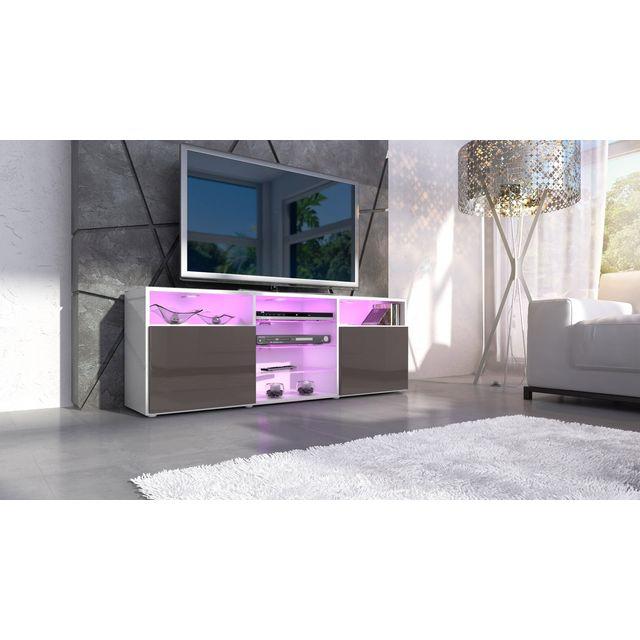 Mpc Meuble design tv blanc et chocolat avec led