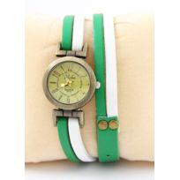 Yilisha - Montre Femme Cuir Blanc Vert 255