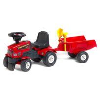 Falquet - Porteur tracteur Farm Mustang 350S + Remorque + pelle et râteau : Rouge