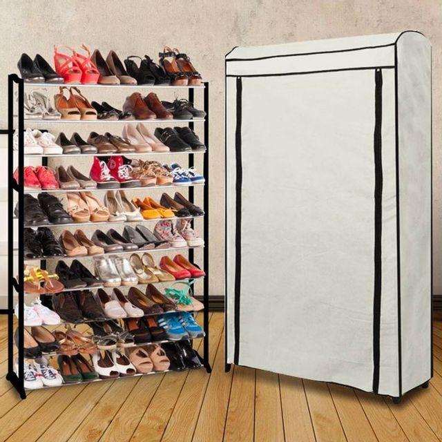 Idmarket etagère range <strong>chaussures</strong> 50 paires eco avec sa housse écrue