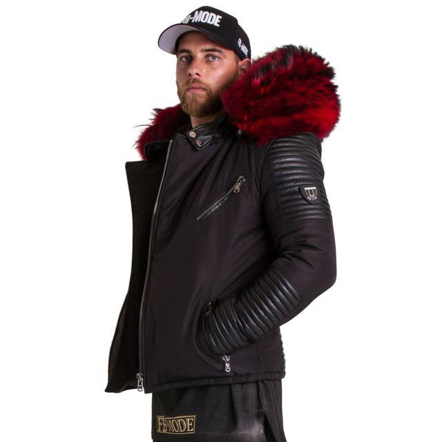 53f34a64a1c VENTIUNO - Ekos Veste Doudoune Bi-matière noir fourrure véritable rouge  épaisseur maximum - cuir d agneaudoudoune
