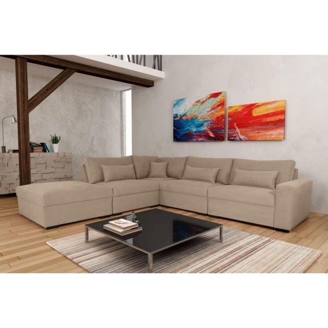 Rocambolesk Canapé Mykonos P1A11B Denim 806 beige angle gauche sofa divan
