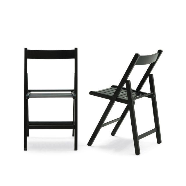 RUE DU COMMERCE Chaise pliante Noir Bois wenge pas