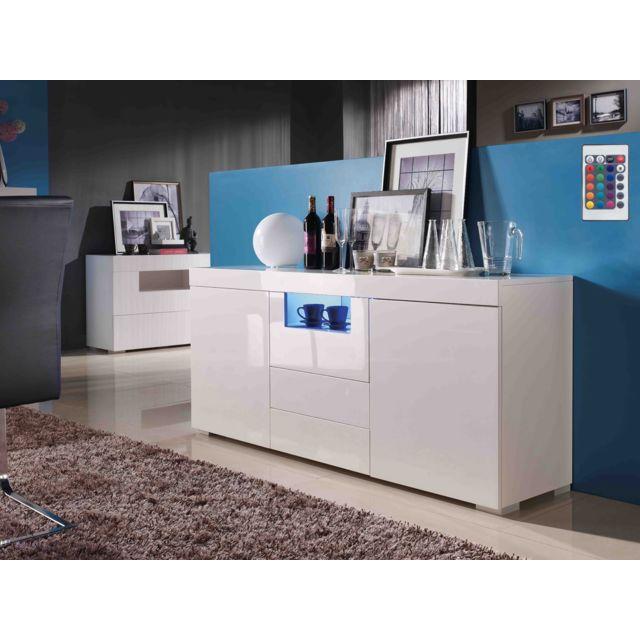 HABITAT ET JARDIN Buffet Flora MDF laqué blanc avec led - 2 portes et 3 tiroirs