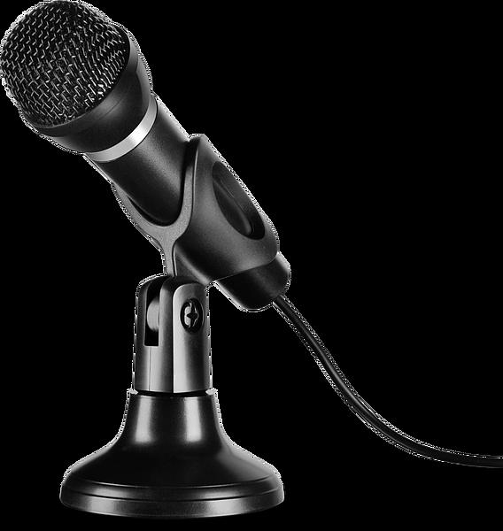SPEEDLINK SL-800002-BK CAPO USB noir Microphone à main et de bureau pour PC. Raccordement USB. Carte son intégrée. Câble: 2m.