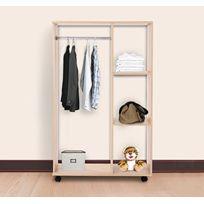 HOMCOM - Armoire penderie armoire de rangement amovible à barre d'accrochage en panneaux de particules e1 78
