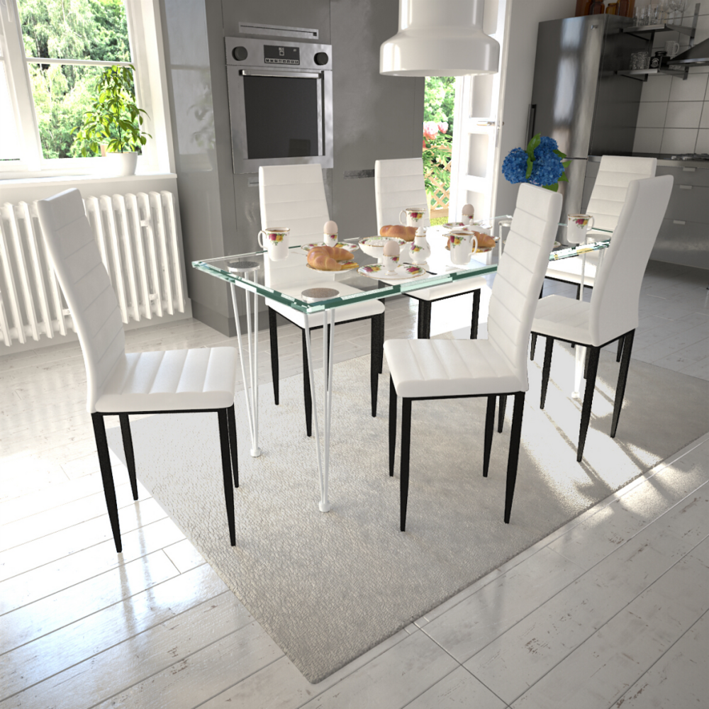 Rocambolesk Superbe Lot de 6 chaises blanches aux lignes fines avec une table en verre Neuf