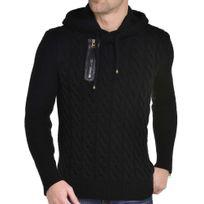 BLZ Jeans - Pull noir à maille torsadée