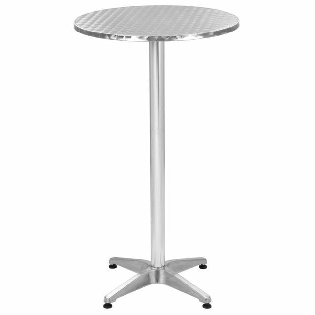 Icaverne Ensembles de meubles d'extérieur categorie Ensemble de bar 3 pcs avec table ronde Argenté Aluminium