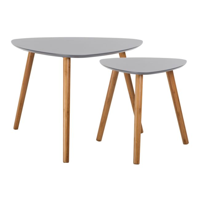 Rendez Vous Deco - Table basse Scandinave grise lot de 2 60cm x 60cm x 48cm