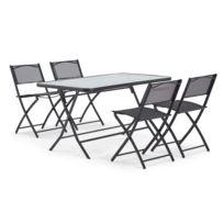 Table de jardin et 4 chaises pliantes en acier et verre - Noir